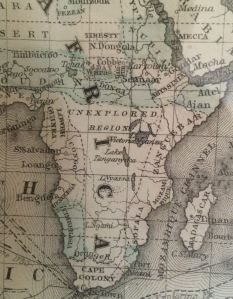"""Detail of central Africa from an 1872 map of the world. Note the """"unexplored region."""""""