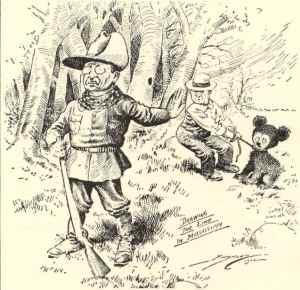1902 Washington Post political cartoon on Theodore Roosevelt's bear hunting trip.